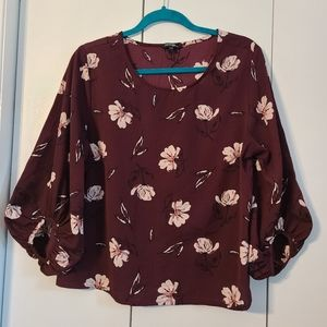 Tops - Floral Blouse Balloon Sleeves Burgundy